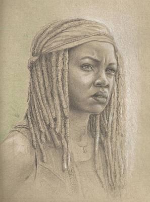 James Parker Drawing - Michonne by James Parker