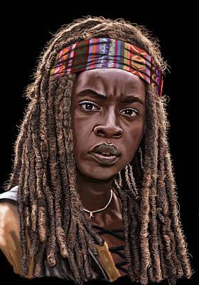 Danai Gurira Painting - Michonne The Walking Dead Digital Drawing by Femchi Art