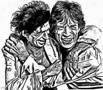 Drawing - Mick And Keith by Sergey Lukashin