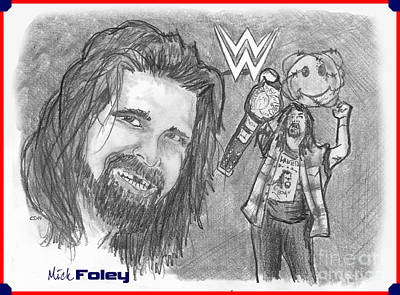 Drawing - Mick Foley by Chris  DelVecchio