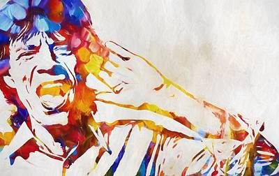 Music Paintings - Mick Jagger Abstract by Dan Sproul