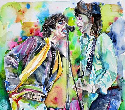 Painting - Mick Jagger And Keith Richards - Watercolor Portrait by Fabrizio Cassetta
