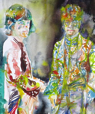 Painting - Mick Jagger And John Lennon - Watercolor Portrait by Fabrizio Cassetta