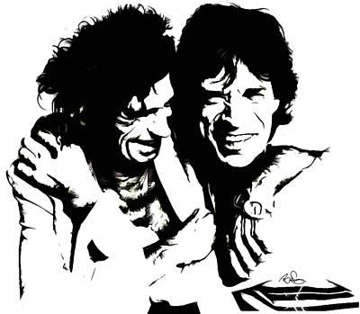 Mick Jagger And Keith Richards Mixed Media - Mick Jagger And Keith Richards 3c  by Brian Reaves