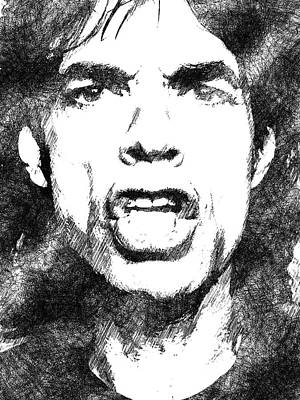 Drawing - Mick Jagger Bw Portrait by Mihaela Pater