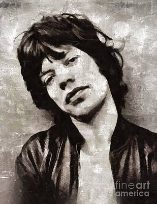 Music Paintings - Mick Jagger by Mary Bassett by Esoterica Art Agency