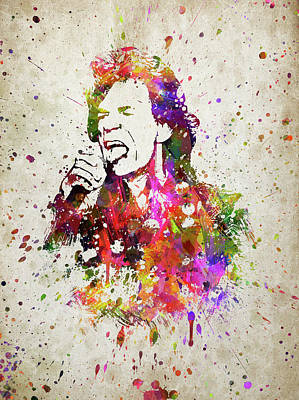 Colorful Abstract Digital Art - Mick Jagger In Color by Aged Pixel