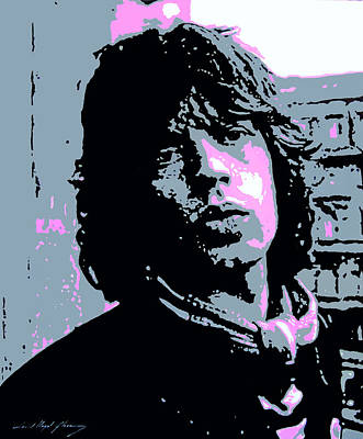Music Paintings - Mick Jagger in London by David Lloyd Glover