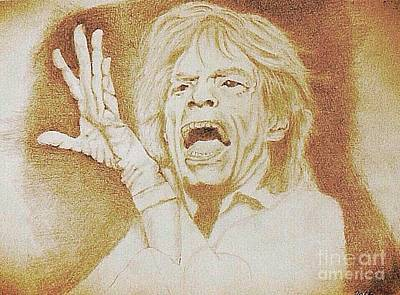 Drawing - Mick Jagger Of The Rolling Stones by Robert Monk