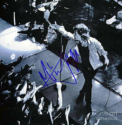 Autographed Mixed Media - Mick Jagger On Stage Signed by Pd