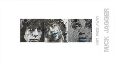 Portrait Mixed Media - Mick Jagger Triptych by Paul Lovering