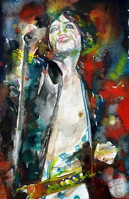 Painting - Mick Jagger - Watercolor Portrait.4 by Fabrizio Cassetta