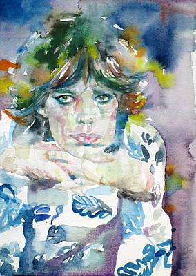 Painting - Mick Jagger - Watercolor Portrait.5 by Fabrizio Cassetta