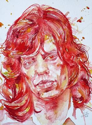 Painting - Mick Jagger - Watercolor Portrait.6 by Fabrizio Cassetta