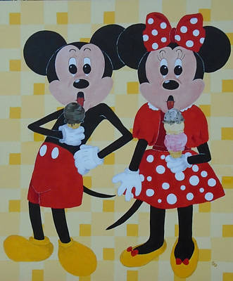 Painting - Mickey And Minnie Love Ice Cream by Georgia Donovan