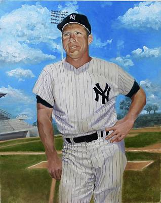 Mickey Mantle Drawing - Mickey Mantle by Bernard Morille