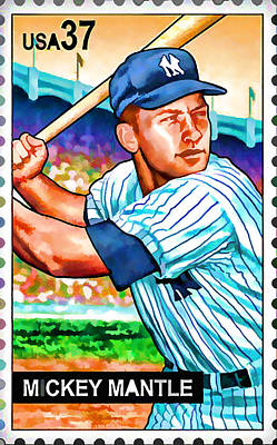 Slugger Painting - Mickey Mantle by Lanjee Chee