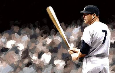 Mickey Mantle Painting - Mickey Mantle Signed Prints Available At Laartwork.com Coupon Code Kodak by Leon Jimenez