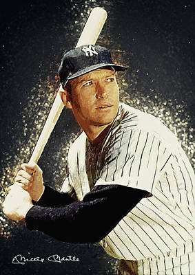 Babe Ruth Digital Art - Mickey Mantle by Taylan Apukovska