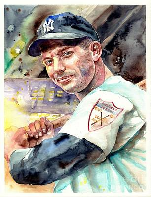Mickey Mantle Painting - Mickey Mantle Watercolor by Suzann's Art