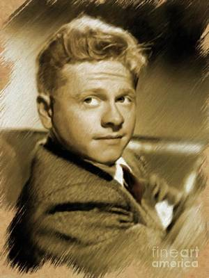 Painting - Mickey Rooney, Actor by Mary Bassett