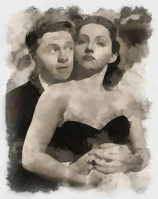 Hollywood Legends Painting - Mickey Rooney And Diana Lewis by Esoterica Art Agency