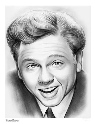 Mickey Drawing - Mickey Rooney by Greg Joens