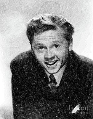 Musicians Drawings - Mickey Rooney, Vintage Actor by JS by Esoterica Art Agency