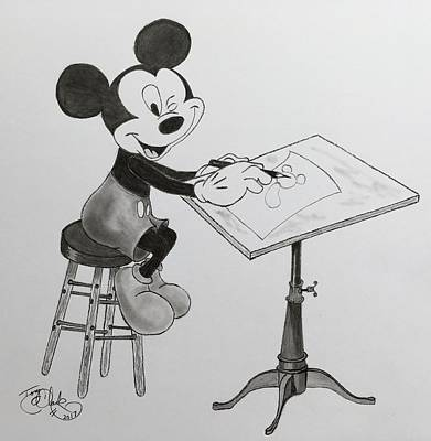 Drawing - Mickey The Imagineer by Tony Clark