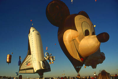 Photograph - Mickey With Space Shuttle - Hot Air Balloons by Art America Gallery Peter Potter