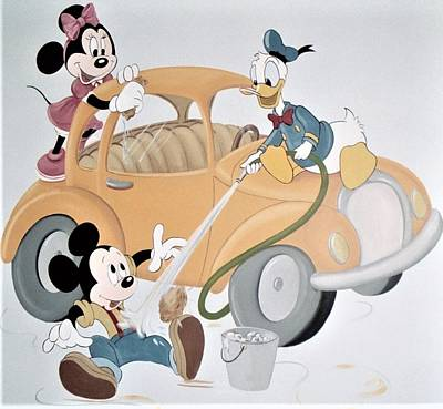 Micky,minnie And Donald On Car Art Print