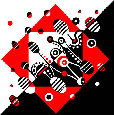 Drawing - Microgravity - Red And Black by Deyana Deco