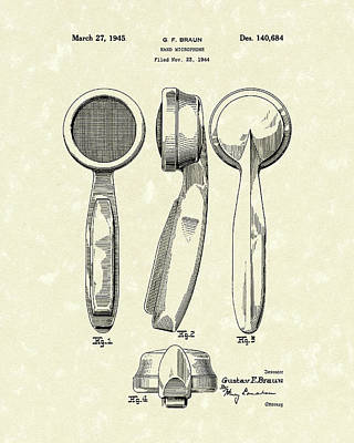 Microphone 1945 Patent Art Art Print by Prior Art Design