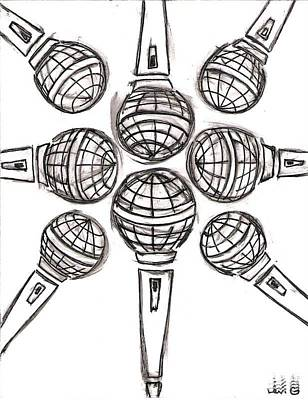 Sterling Drawing - Microphone Cross by Levi Glassrock