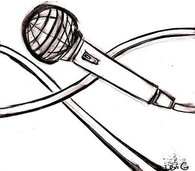 Long Center Drawing - Microphone by Levi Glassrock