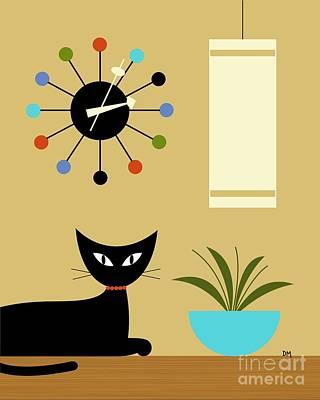Black Cat Clock Digital Art - Mid Century Ball Clock by Donna Mibus