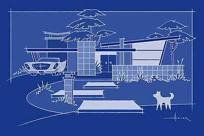 Digital Art - Mid-century Blueprint, Chrysler With White Dog by Larry Hunter