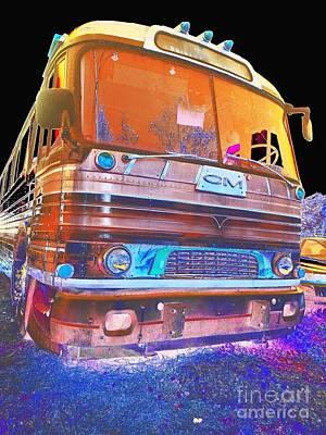 Mid Century Gm Greyhound Bus Abstract Art Print