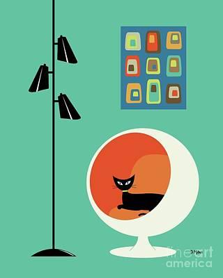 Orange Cat Wall Art - Digital Art - Mid Century Mini Oblongs by Donna Mibus