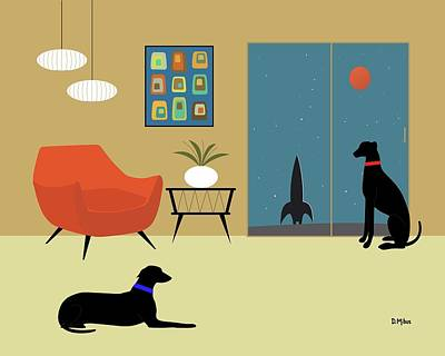 Digital Art - Mid Century Modern Greyhounds by Donna Mibus