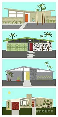 Digital Art - Mid Century Modern Houses Vertical by Donna Mibus