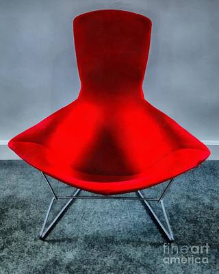 Chairs Digital Art - Mid Century Modern Red Chair by Edward Fielding