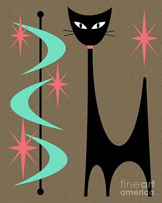 Digital Art - Mid Century Modern Shapes 8 With Cat by Donna Mibus