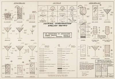 Mid Century Retro Vintage Cocktail Construction Chart Art Print