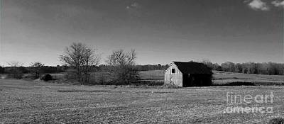 Southern Indiana Digital Art - Mid Century Weathered Barn - Black And White by Scott D Van Osdol