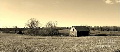 Southern Indiana Digital Art - Mid Century Weathered Barn - Sepia by Scott D Van Osdol