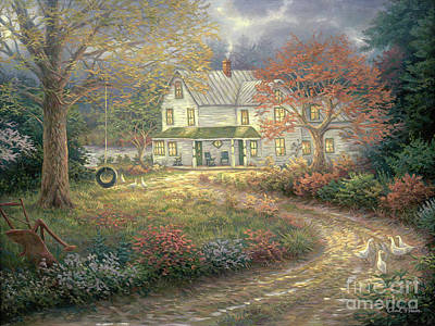 Folk Painting - Mid Country Farmhouse by Chuck Pinson