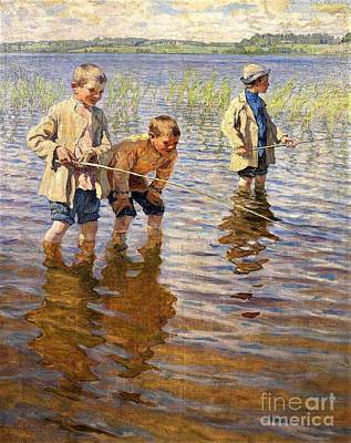 Painting - Mid Day Fishing  by Reproduction