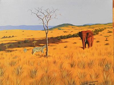Painting - Mid  Day In Tsavo by Hilton Mwakima