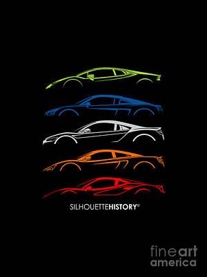 British Digital Art - Mid-engine Sports Cars Silhouettehistory by Gabor VIda